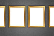 Gold picture frame at the metal wall with clipping path