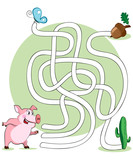 Vector illustration, maze, help the pig reach her nuts, card con