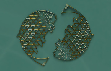Pisces. Zodiac Star Sign in 3D