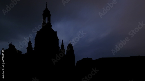 Germany Frauenkirche Dresden night storm