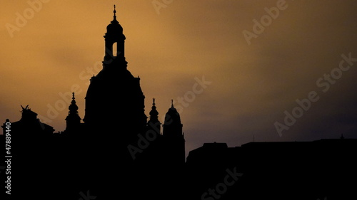 Germany Frauenkirche Dresden night clouds