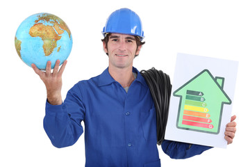 Workers with globe and energy rating panel
