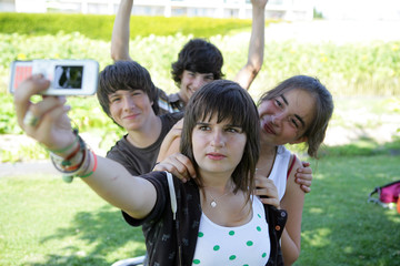 Teens photographing
