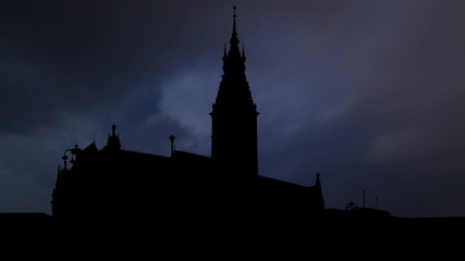 Germany Hamburg Rathaus night storm