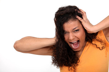 A desperate woman screaming
