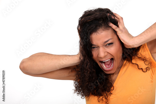 A desperate woman screaming