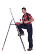 Painter leaning against a stepladder