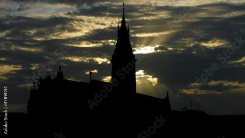 Germany Hamburg Rathaus sunset