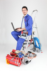 plumber with computer