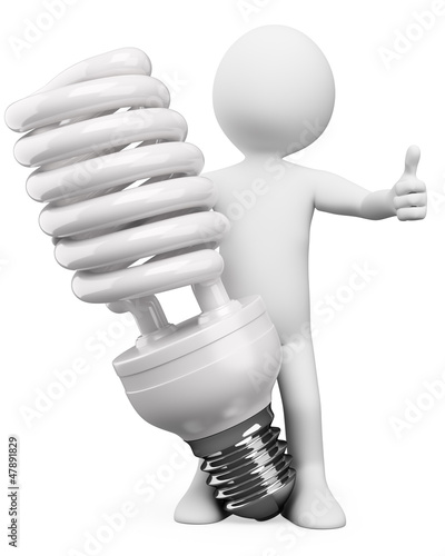 3D white people. Energy saver bulb