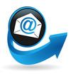 email sur bouton flêche bleue