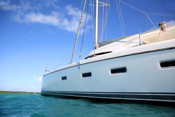 View of catamaran in caribbean water