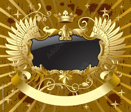 金色皇冠翅膀标志徽章矢量素材