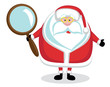Confused Santa with magnifying glass