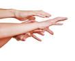 Verzweifelte Hände strecken sich