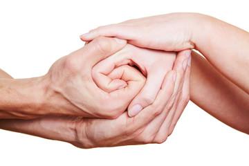 Viele Hände halten sich fest