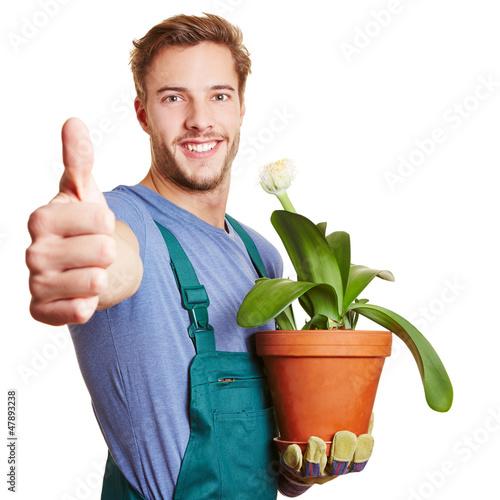 Gärtner hält Daumen hoch