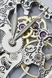 close view of watch hands and mechanism