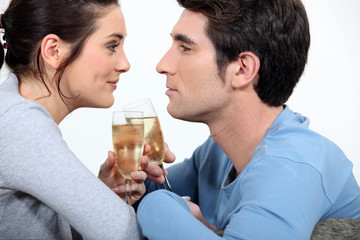 Couple having a glass of champagne