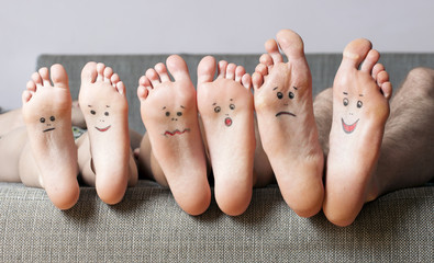 Close up of human soles with smiles