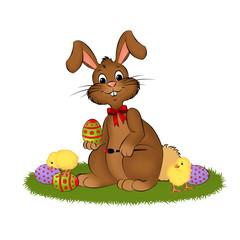Osterhase mit Küken und Eiern
