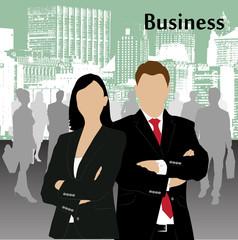 businessman against the megalopolis