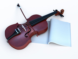 violin with music-book for greetig card