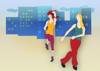 Zumba dancing girls on city background