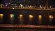 Cars go at night on Jiangwan bridge and Haiyin bridge which