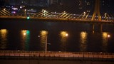 Cars go at night on Jiangwan bridge and Haiyin bridge which