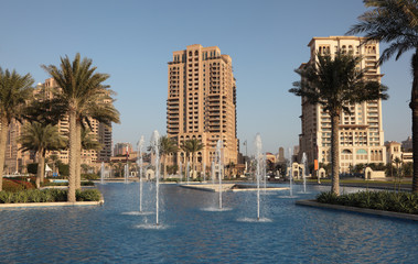 Fountain at The Pearl, Porto Arabia, Doha Qatar