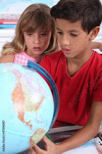 Two children in classroom