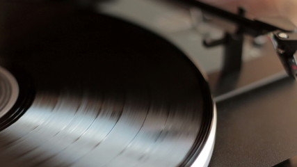 Record player automatically started, close up