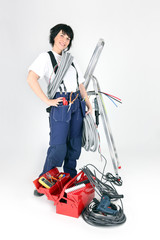 handywoman with many tools