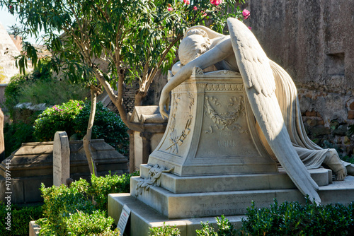 Tomb in the non-Catholic cemetery in Rome, Italy