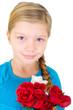 Mädchen mit roten Rosen