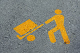 yellow man who load merchandise transport in asphalt poster