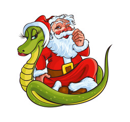 Christmas Santa Claus and Snake
