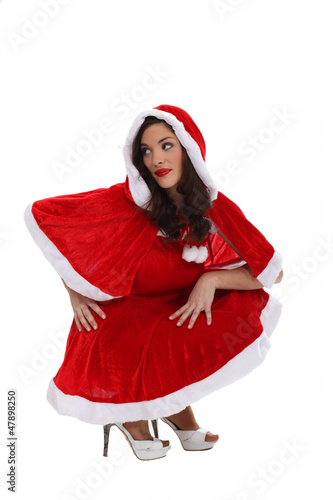 woman in a Santa Claus suit