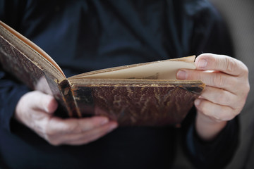 man with vintage book