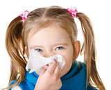 Little girl blowing her nose in a great effort closeup isolated poster