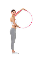 Woman using a hula hoop