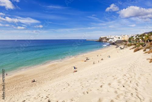 canvas print picture Strand und Altstadt, Morro Jable, Fuerteventura