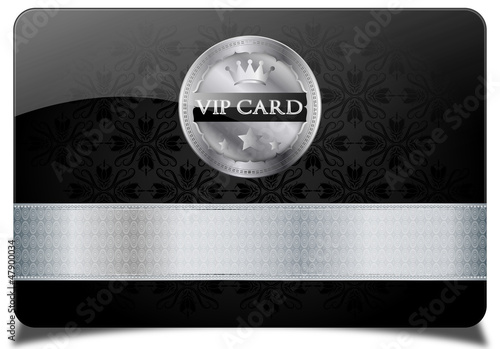 Black vip card, metallic label