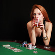 Frau mit Pokerface