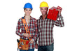 Tradespeople posing with their tools