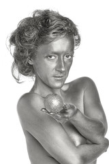 Silver woman with apple