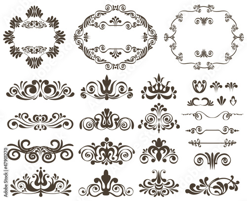 Vector set of calligraphic design elements and floral frames