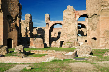 The ruins of the Baths of Caracalla in Rome, Italy