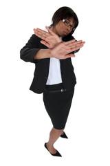 Businesswoman refusing